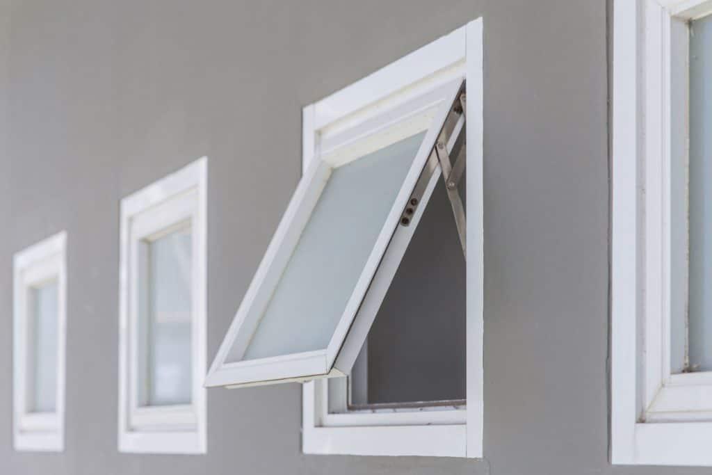 An opened awning window