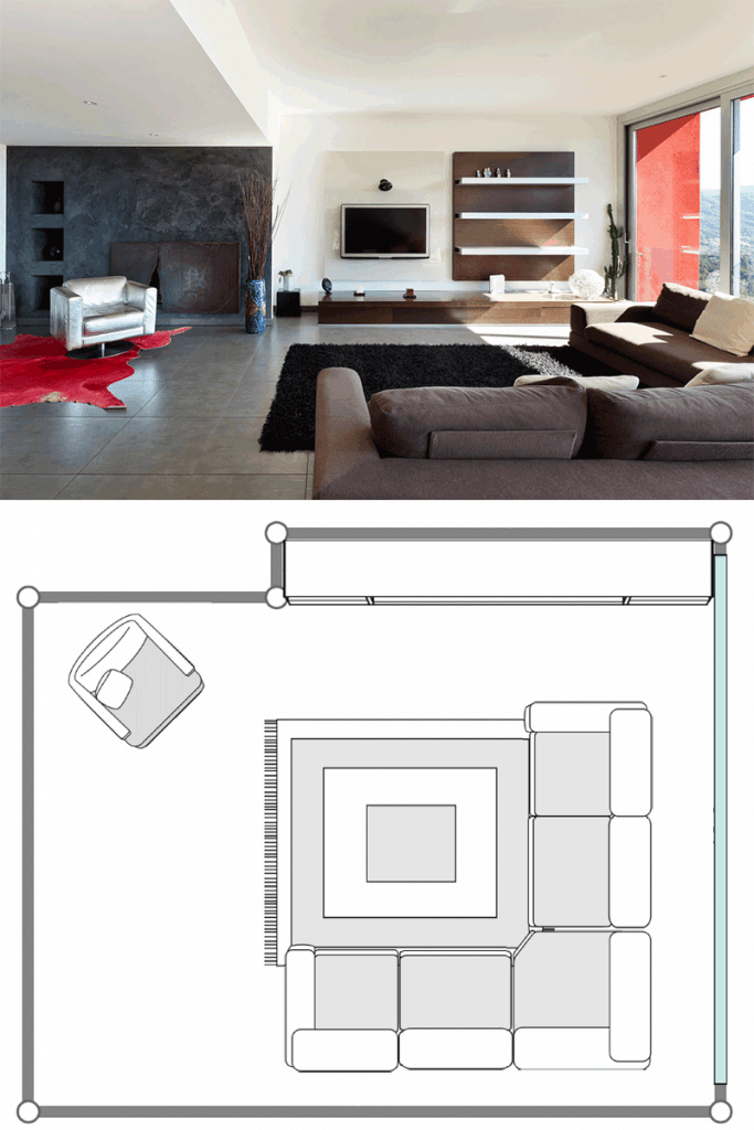 An ultra modern living room with a large sectional sofa, a huge window with a black area rug under it, with walls and ceilings painted in white