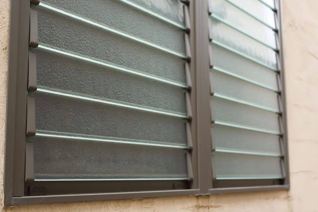 An up close photo of close louver windows