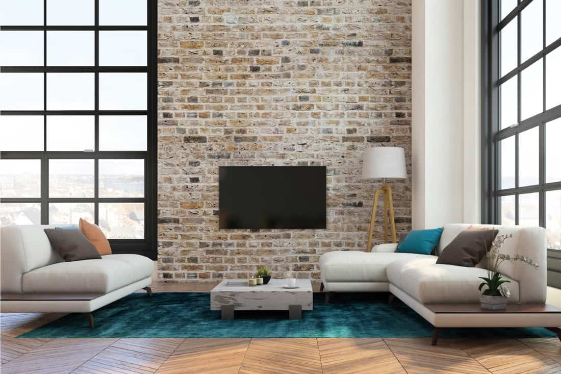 Apartment interior living room with large LED TV screen on the brick wall. modern sofa with pillows, turquoise carpet, large windows