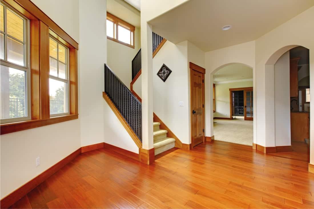 Beautiful home entrance with dark wood laminate floor