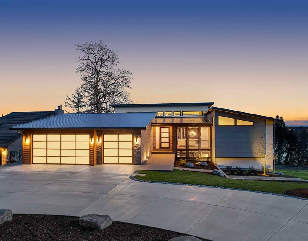 Beautiful modern luxury home exterior at sunset