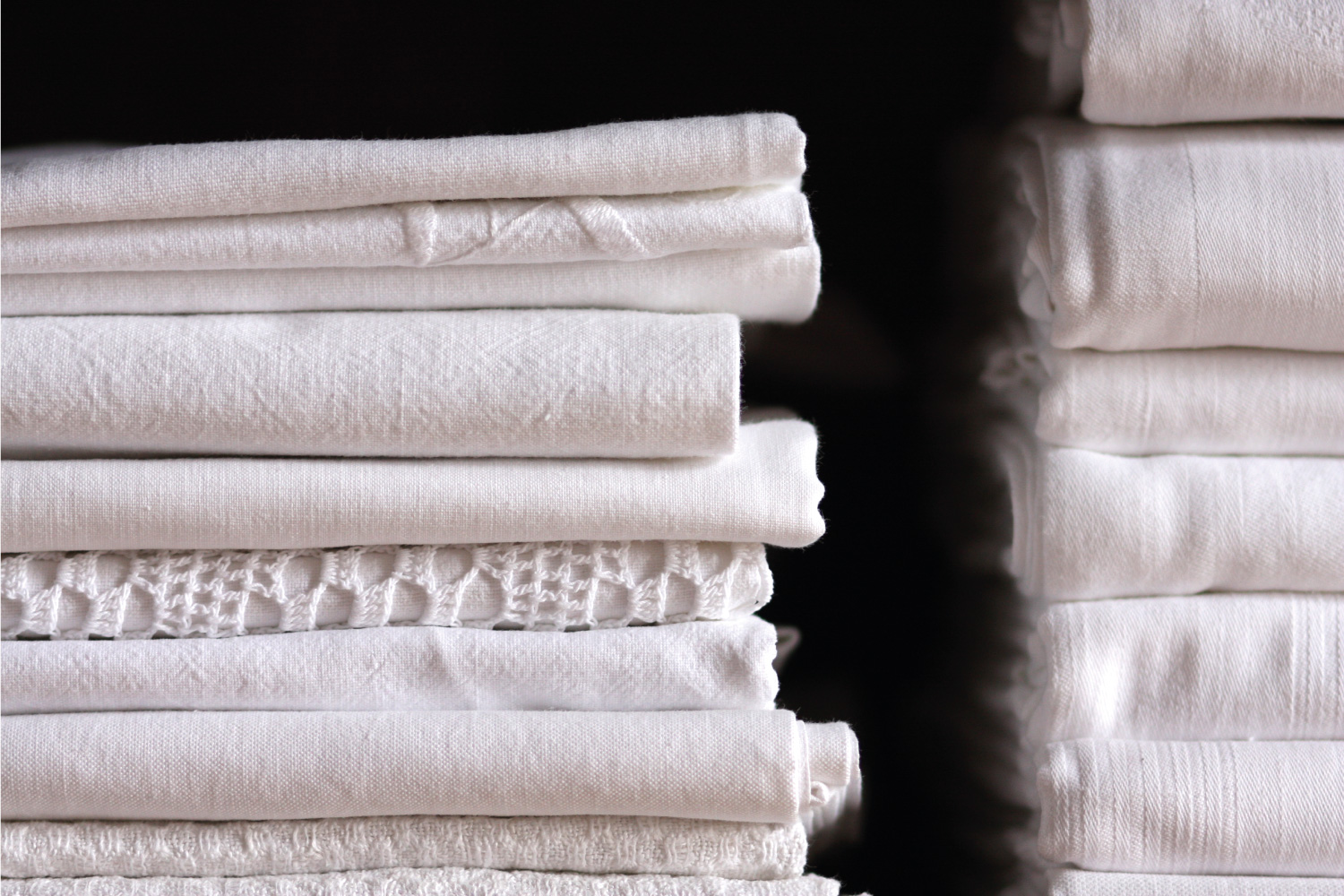Bed sheet pile and flannel cloth folded neatly