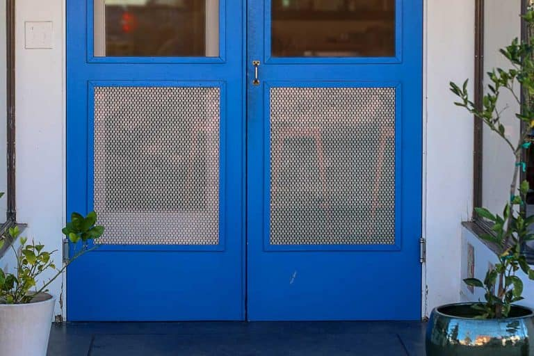 Blue wooden doors as an entrance to a building covered with screen and has reflections in the top portion of the doors, 8 Types Of Screen Doors
