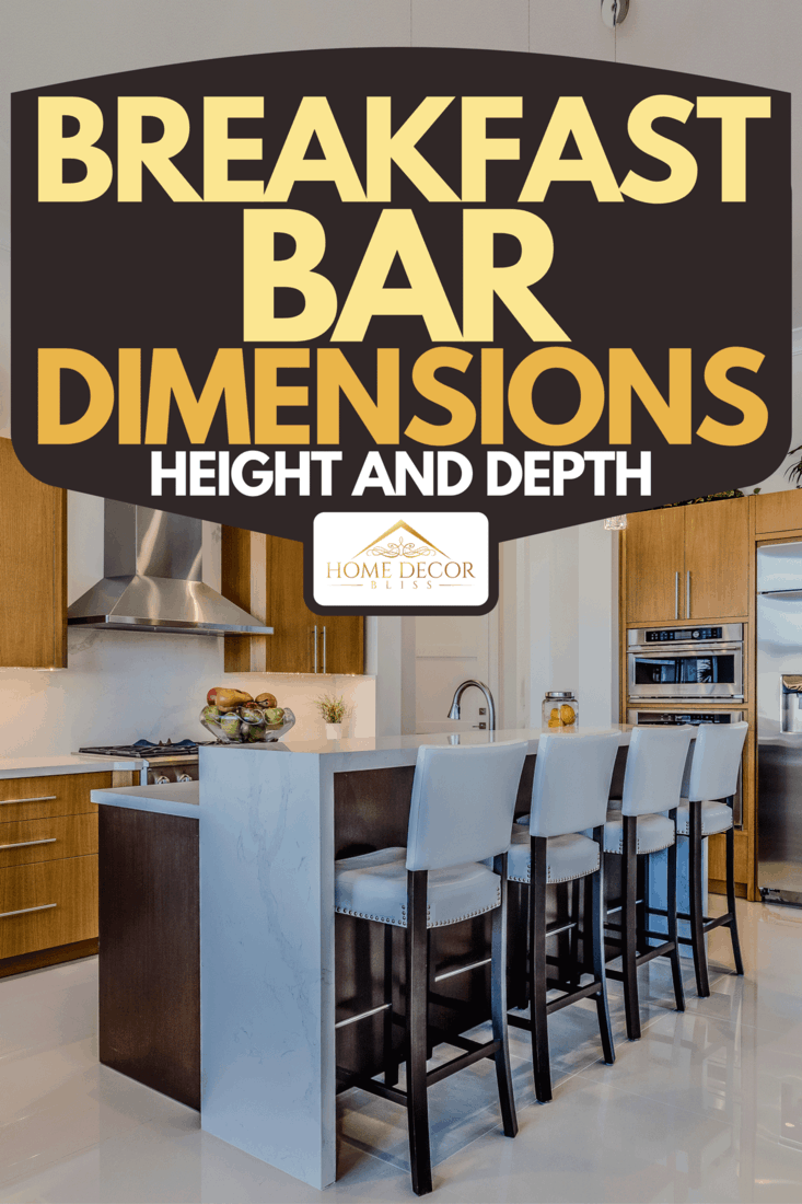 Amenities in new kitchen include split level island and stainless steel range hood, Breakfast Bar Dimensions : Height and Depth