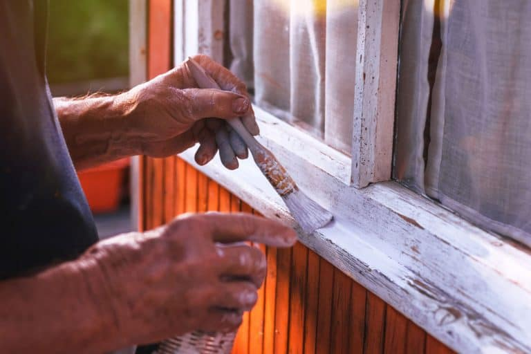 Close-up view on old hand holding paintbrush painting a window frame, How To Paint Window Frames [11 Steps]