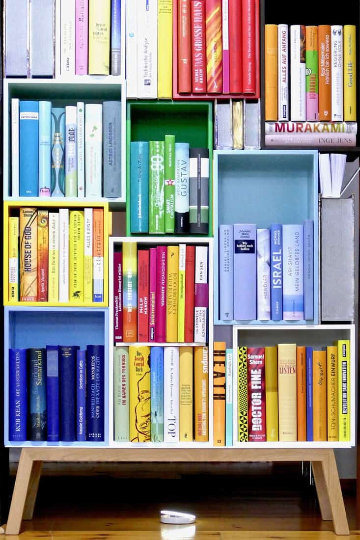 Colorful book shelves packed with books
