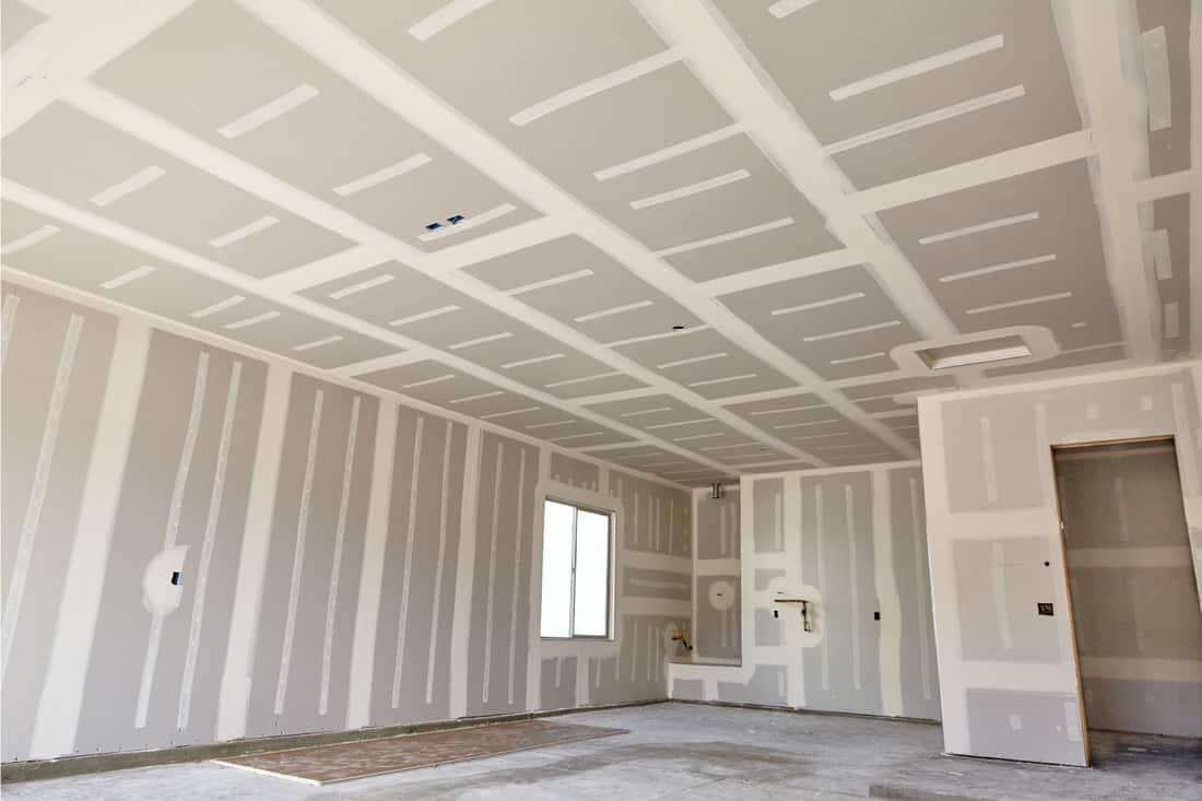 New home construction interior with drywall tape and finish details