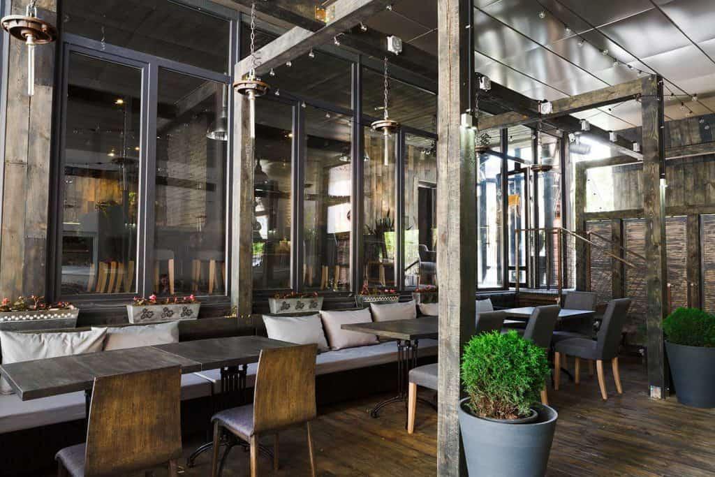 Contemporary design of a cozy loft style restaurant