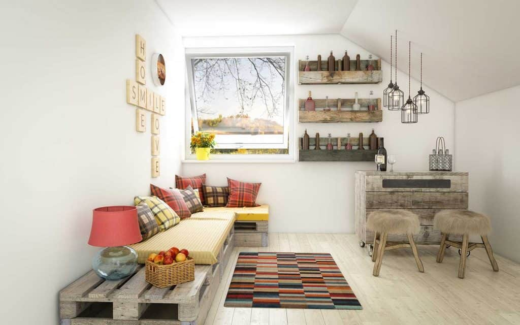 Cozy and rustic home interior design with high quality DIY euro pallet furniture