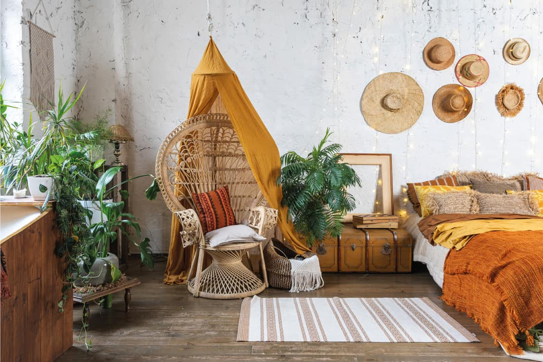 Cozy house with room in boho style interior