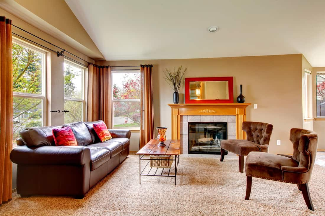 Cozy living room with fireplace and leather furniture