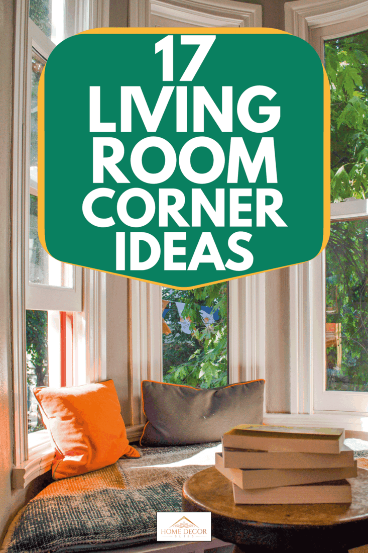 Cozy reading corner with books on the table and long windows, 17 Living Room Corner Ideas