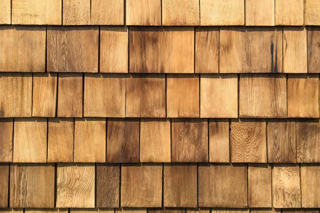 Detailed view of weather wooden shingles