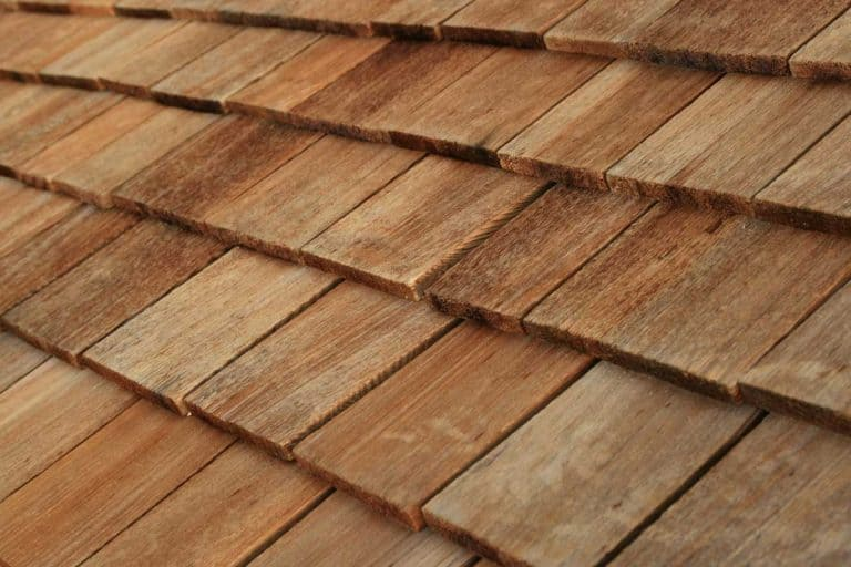 Diagonal detail of brown wood roof shingles, How Big Are Wood Shingles?