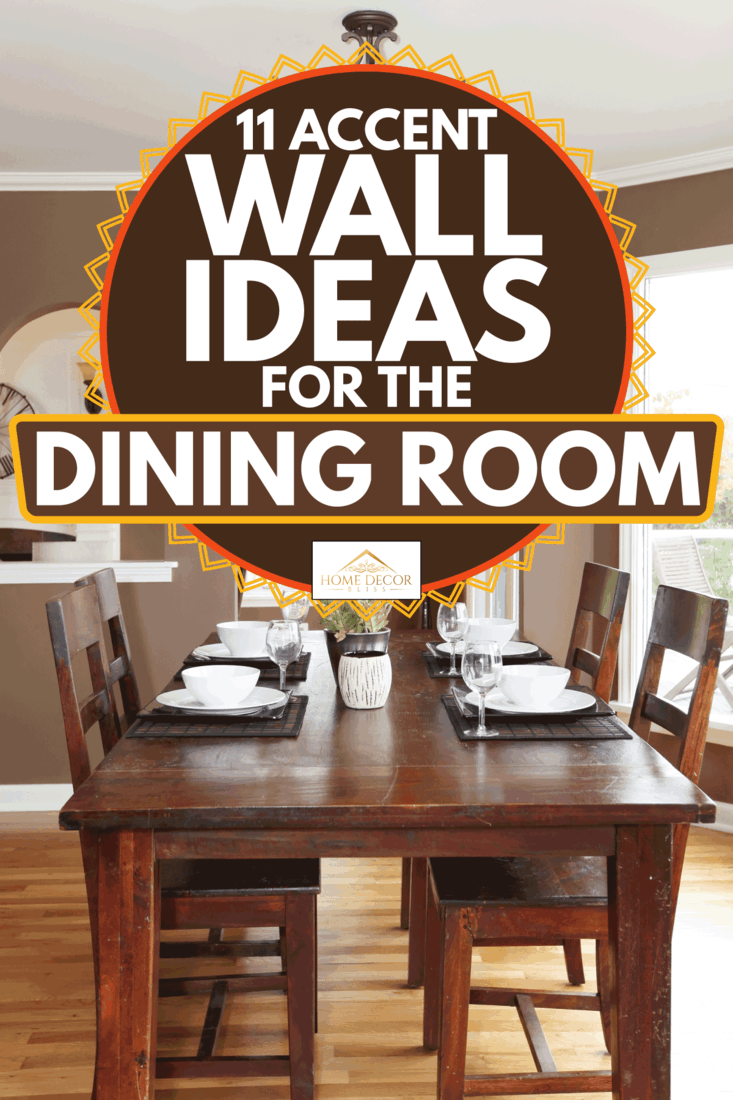 Dining room with brown walls, large glass windows, wooden dining table and chairs, 11 Accent Wall Ideas For The Dining Room
