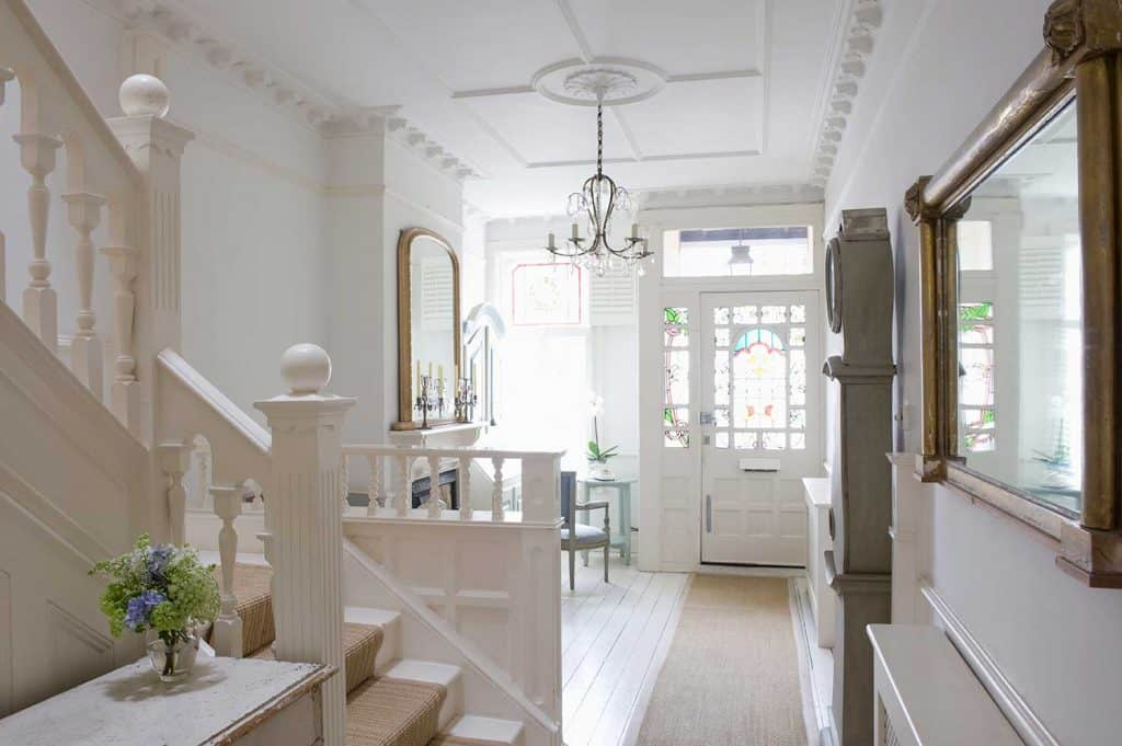 Entrance hall of a white home interior