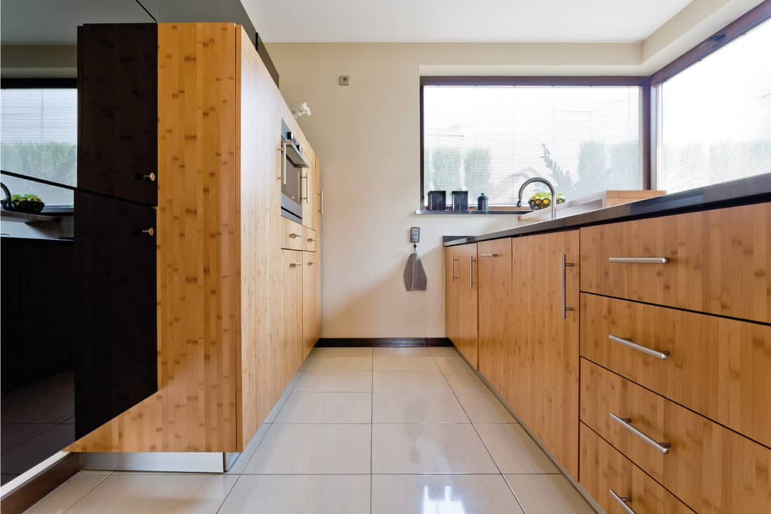 Exclusive wooden kitchen with wood cabinets