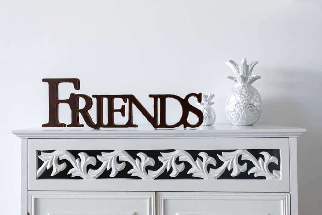 Friends Sign decoration as home decor in home interior