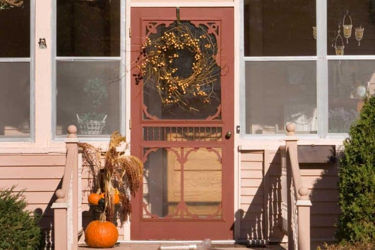 Front entrance of a quaint house with screen door, How To Paint A Screen Door [A Complete Guide]