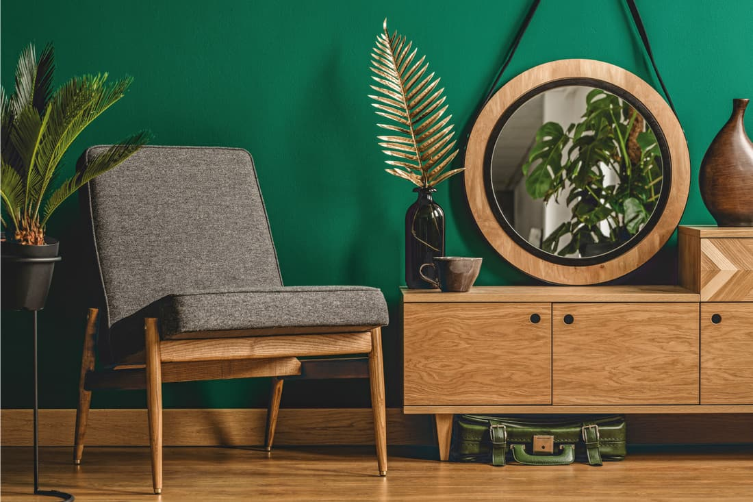 Green vintage room interior with plants, mirror, chair, wooden cabinet and floor
