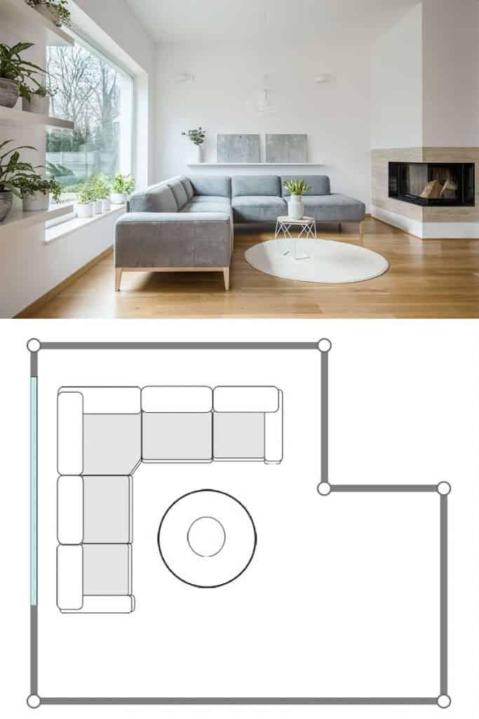 Gray corner lounge standing in white living room