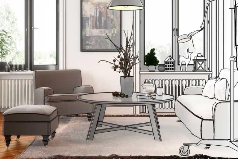 Half sketch layout of a modern living room, 5 Rectangular Living Room Layouts You Should Consider