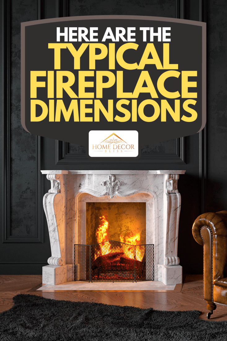 A black classic interior with armchair, moldings, fireplace, floor lamp, carpet, books, coffee table and decor, Here Are The Typical Fireplace Dimensions