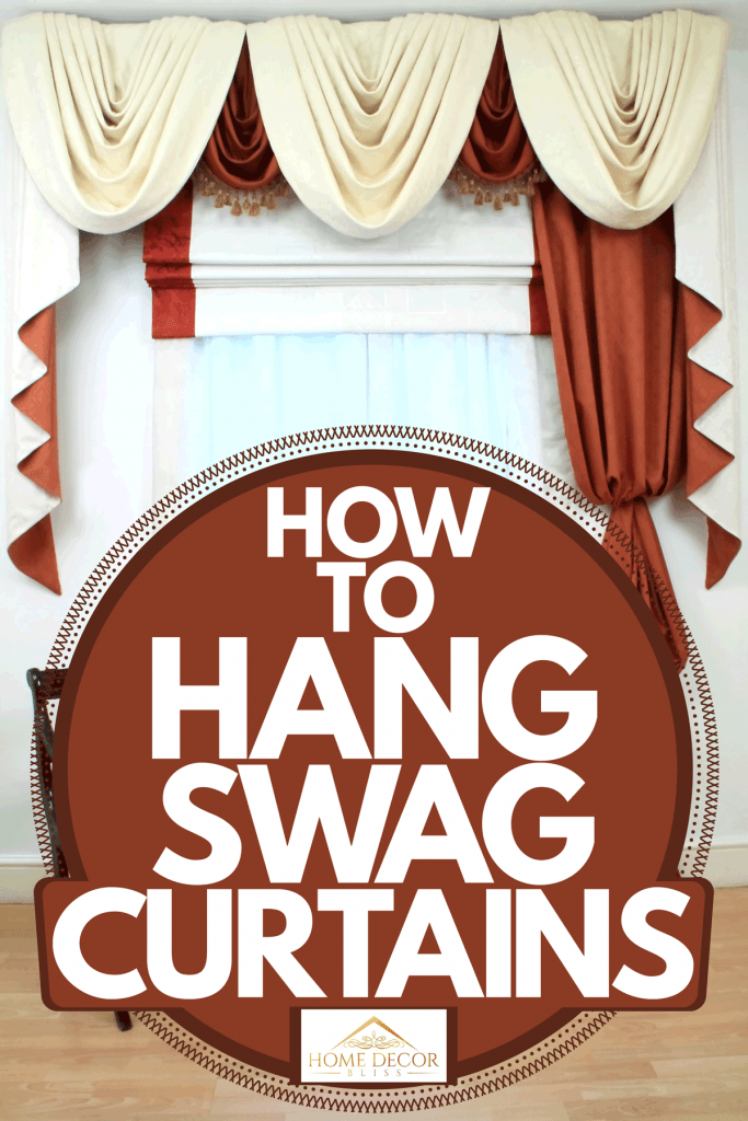 Properly hanged velvet brown and white swag curtains