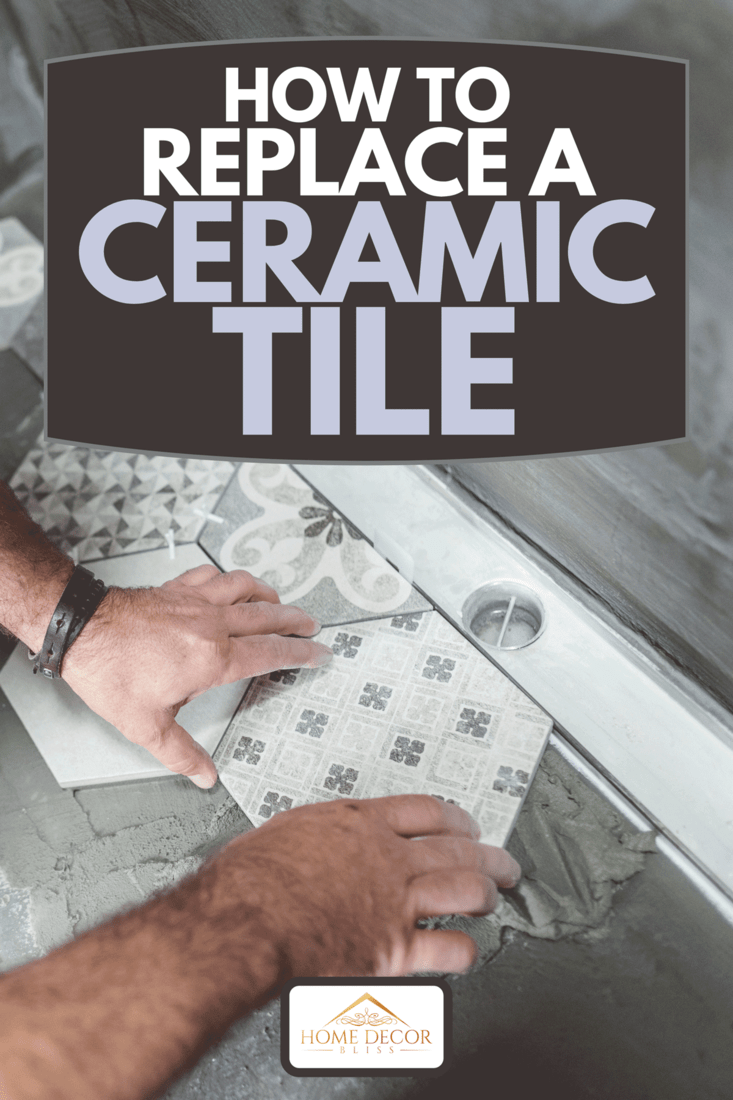 A male builder installing tiles on the bathroom floor, How To Replace A Ceramic Tile