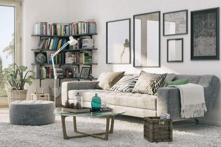 Interior of a gorgeous modern living room with a gray sofa, gray ottoman, gray carpet, and a bookcase on the background, How Deep Should a Bookcase Be?