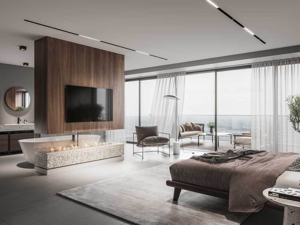 Interior of a luxurious master bedroom interior with large windows, fireplace and tv on wall