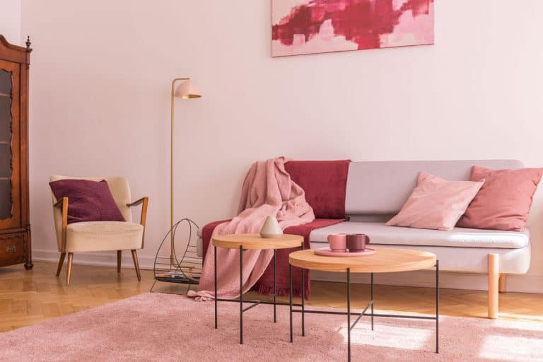 Interior of a minimalist pink colored living room with a white sofa, white pillows, wooden tables, and a pink carpet, What Curtains Go With Pink Walls?