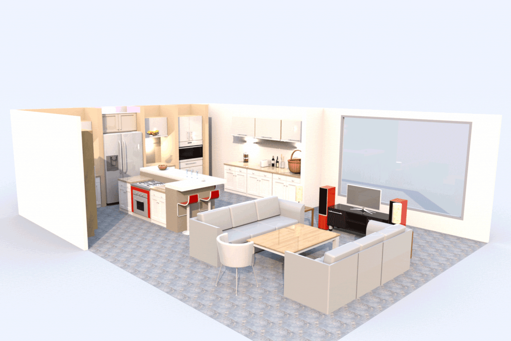 Open designed living room and kitchen incorporated with a contemporary design