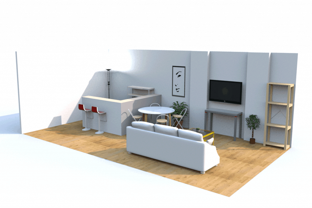 Interior of a narrow apartment living room with an open kitchen and living room layout