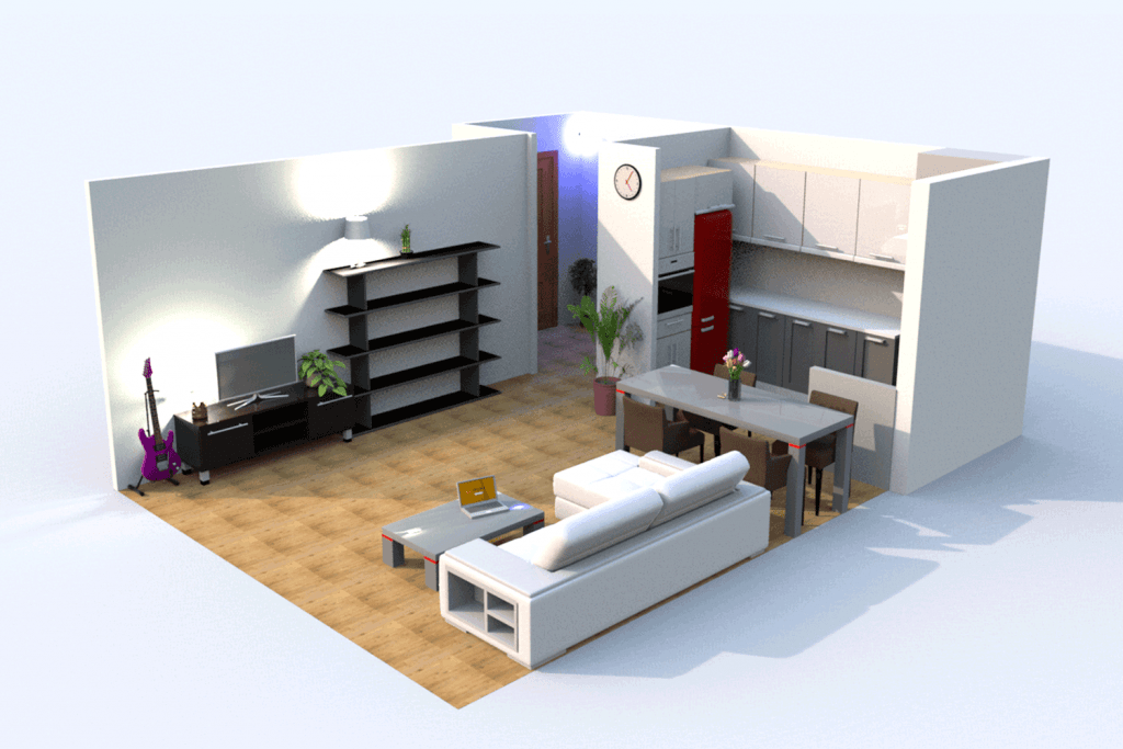 Interior of contemporary living room and kitchen area with minimalist furnitures, and a white sofa