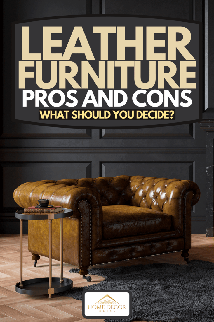A black classic interior with fireplace, leather armchairs, carpet and candles, Leather Furniture Pros And Cons: What Should You Decide?