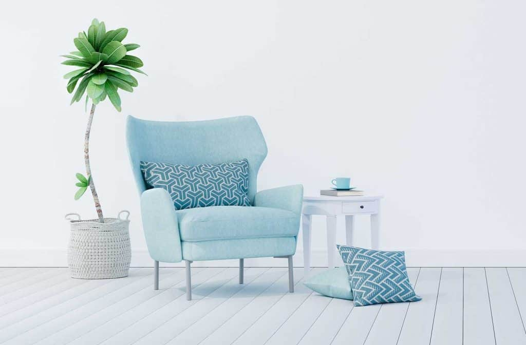 Living room interior design with blue velvet armchair and decorative plant with white wall