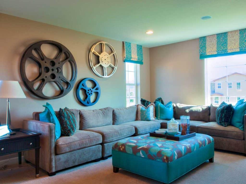 Living room with cozy corner sofa and carpet flooring