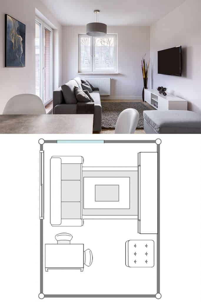 Living room with table, couch and television