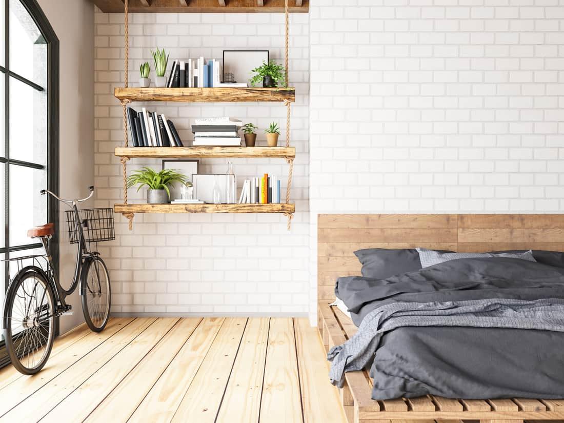 Loft room with cozy design, loft bedroom with hanging office desk