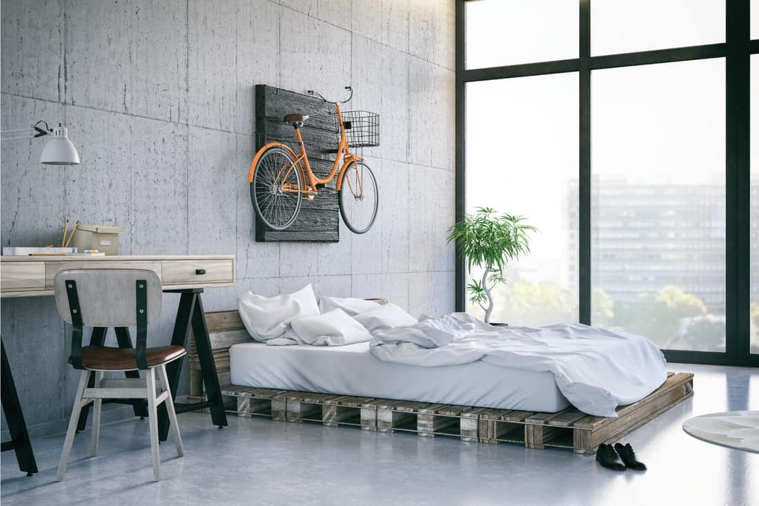 Loft room with cozy industrial chic design