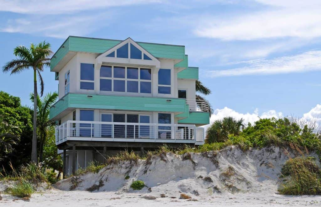 Luxurious beach house with glass windows