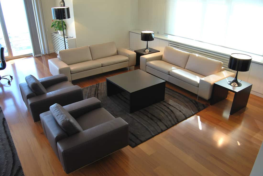 Matching leather furniture in a modern living room
