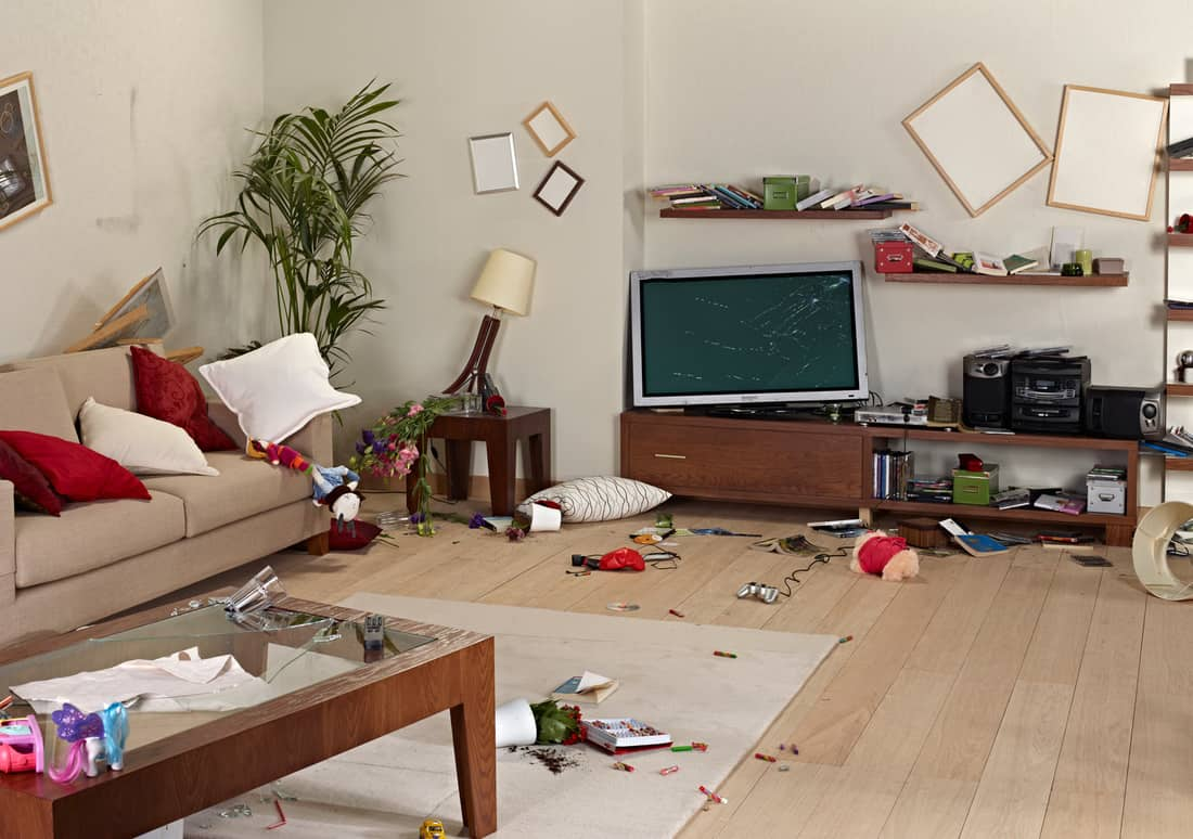 Messy living room with damage after earthquake