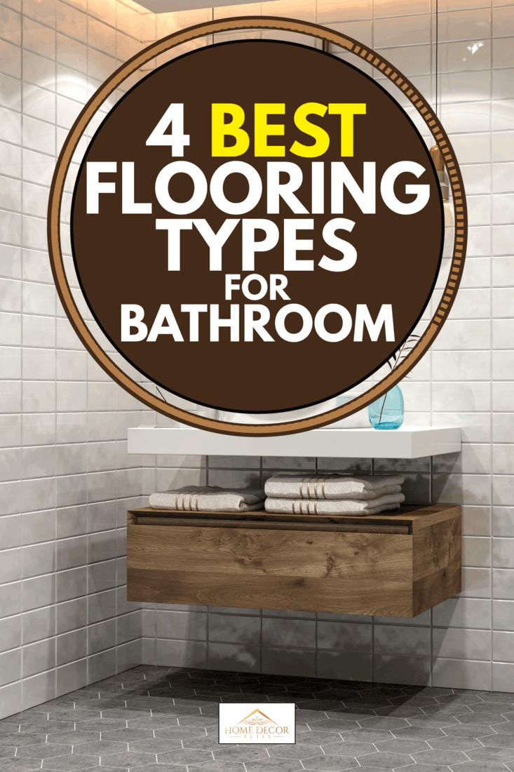 Minimalist bathroom with sink, tiled wall and flooring, 4 Best Flooring Types For Bathroom