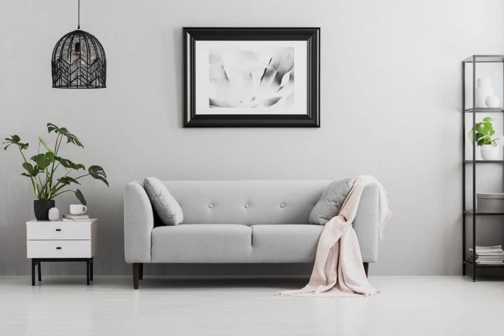 Minimalist themed living room with a gray sofa, white end table with an indoor plant on top, and a mock up picture frame on the walls