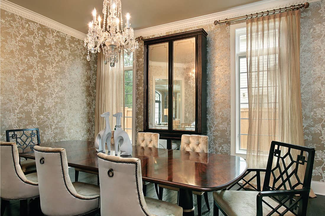Mirrored China Cabinet In The luxury Dining Room