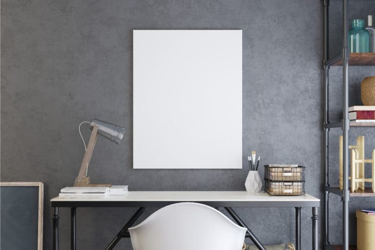 Poster frame in Scandinavian style modern interior living room, How Big Should A Mirror Or Art Be Over A Console Table?