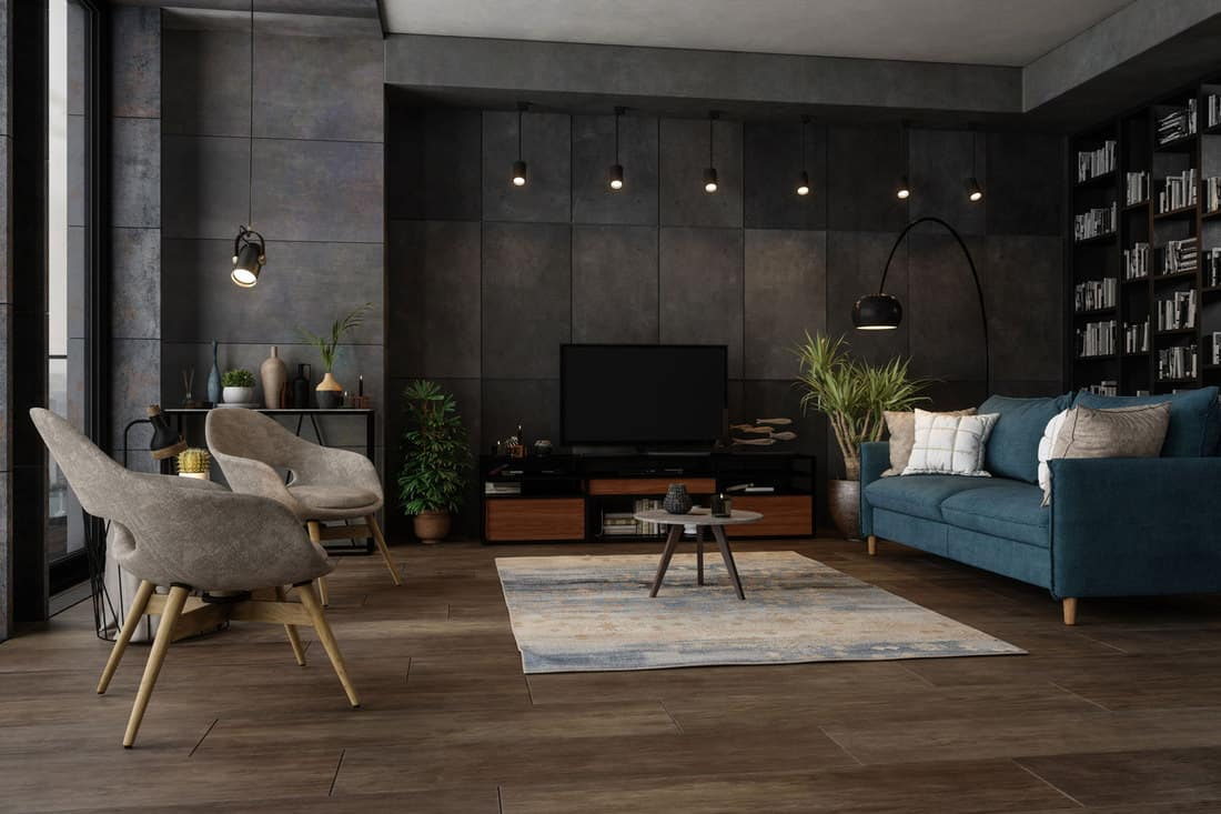 Modern Living Room In The Evening with television